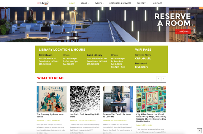 The Cedar Rapids Public Library website recognizes that space rental is both an important business goal and a motive of many site viewers.